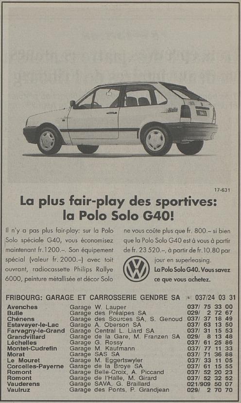 1993 Avril Publicité Polo G40 dans La Liberté 29/04/1993