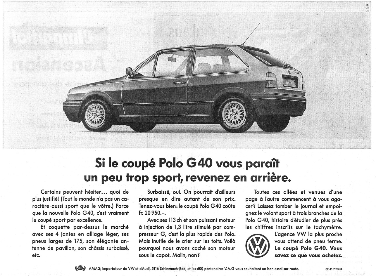 Publicité Polo G40 AMAG dans l'Impartial 04/05/1991