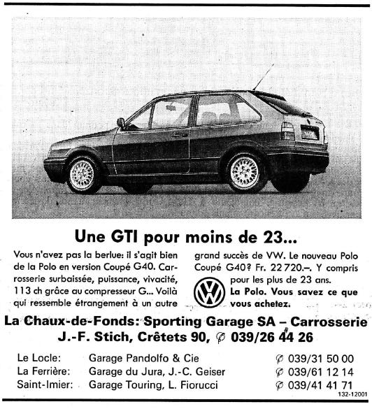 1993 Publicité Polo G40 AMAG dans l'Impartial 10/02/1993