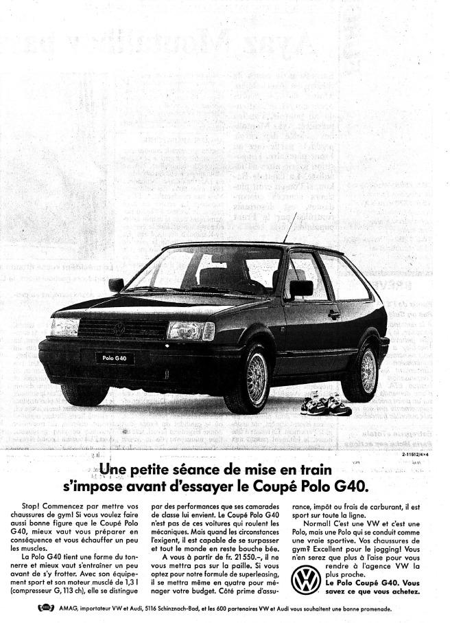1992 Publicité Polo G40 AMAG dans l'Impartial 16/05/1992